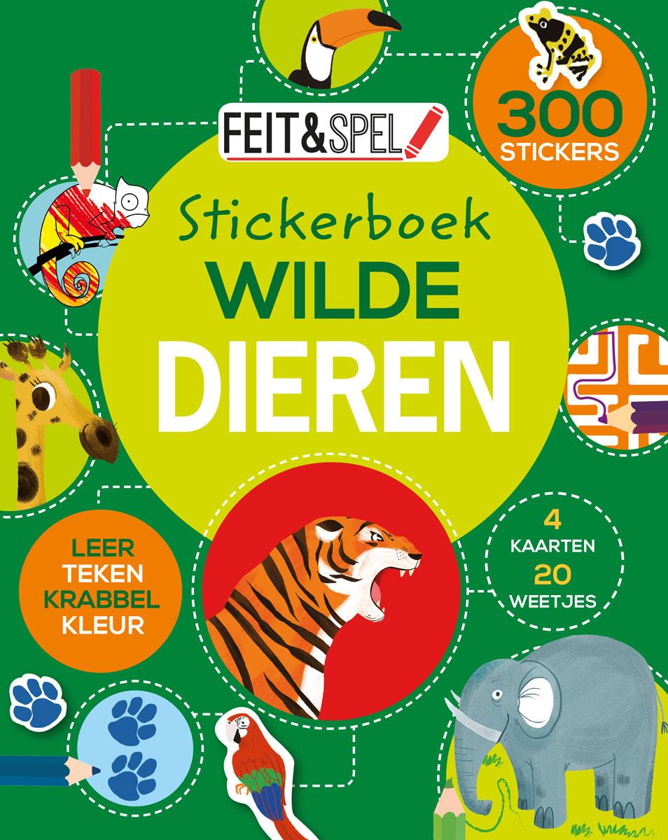 Feit & spel Stickerb. Wilde dieren