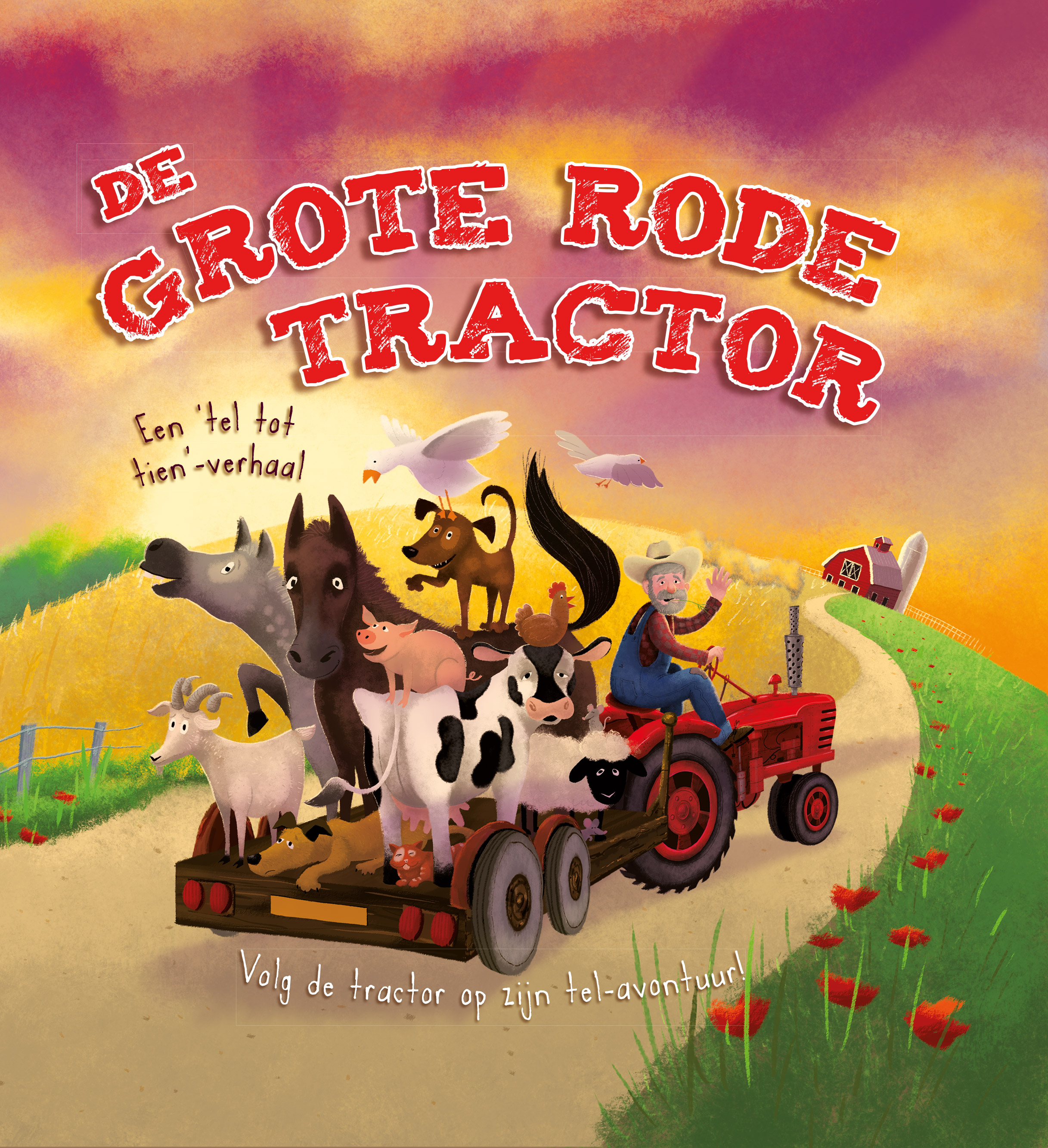 Grote rode tractor