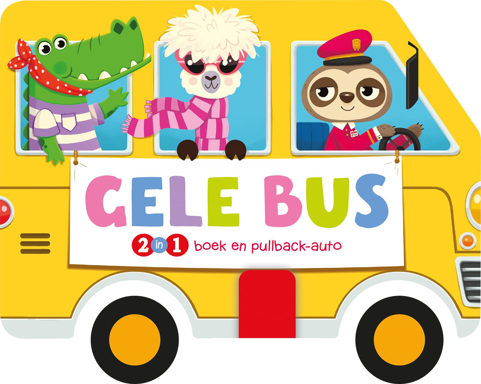 Gele bus - Boek en pullbackauto